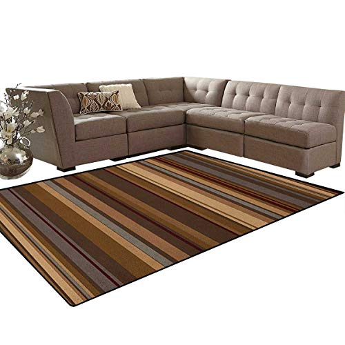Abstract,Carpet,Retro Vertical Striped Background in Different Shades of Earthen Tones Image,Living Dinning Room and Bedroom Rugs,Tan and Brown Size:6'6