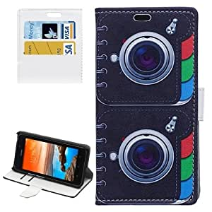 Camera Lens Pattern Horizontal Flip Magnetic Buckle Leather Case with Card Slots & Wallet & Holder for Huawei Y635