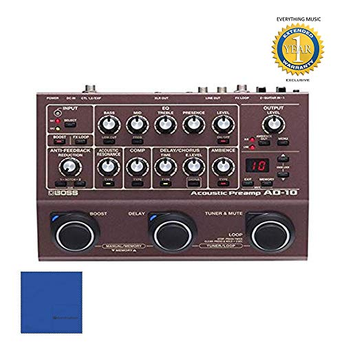 BOSS AD-10 Acoustic Preamp with Microfiber and 1 Year Everything Music Extended Warranty ()