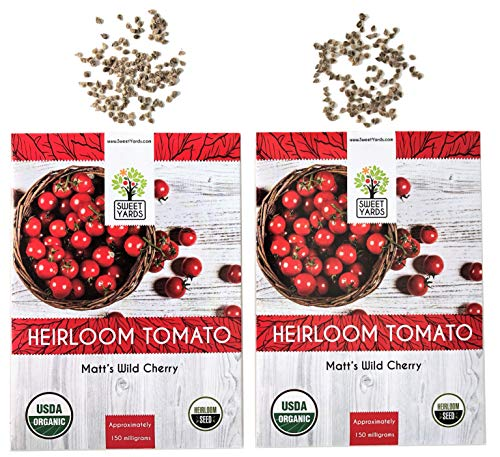 Organic Matt's Wild Cherry Tomato Seeds - 2 Seed Packets! - Over 100 Heirloom Non-GMO USDA Organic Seeds (Tomato Seeds Cherry 100)