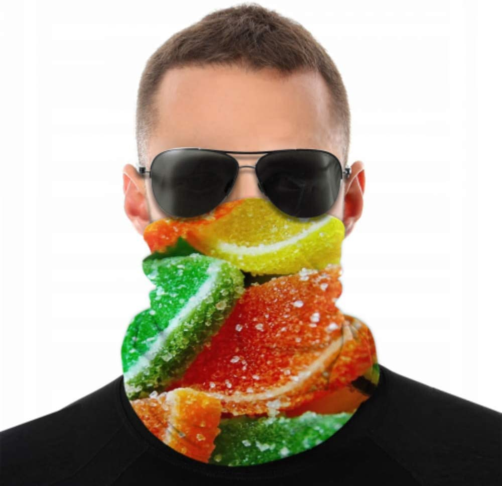 Rtosd Bufanda mágica Mermelada de gelatina Dulce Dulce Azúcar Color Sabroso Bufanda de Pesca Bufanda Bandana para Mujer Mascarilla Antipolvo Multifuncional para Festivales de música/Raves/Equi