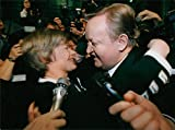 """Size Size of photo 9.3"""" x 6.9""""  Martti Ahtisaari won the presidential election in Finland. Here he is congratulated by Elisabeth Rehn, who also ran.Martti Ahtisaari, Finnish President, President of Finland, President Ahtisaari, ..."""