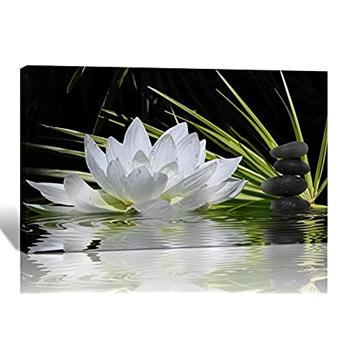 Spirit Up Art Modern Giclee Prints Framed Flower Artwork White Lotus And Black Zen Stones Picture Print To Photo Printed Paintings On Canvas Wall Decor