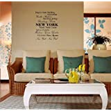Empire state building, Central park, Yankee stadium, Brooklyn bridge, Broadway Theatre, NEW YORK, World Trade Center, Statue of Liberty, Madison Square Garden, Ellis Island, Time Square, New York New York Vinyl wall art Inspirational quotes and saying home decor decal sticker steamss