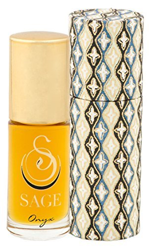 Sage Onyx Roll-on Perfume Oil - Unique Luxury Gift Box - Natural Beauty - Niche - Travel - Aromatherapy - Earthy - Spicy - Sensual - Coconut - Vanilla - Musk - Oakmoss - Unisex by Sage Machado