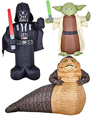 Stars Wars Inflatable Darth Vader Yoda Jabba The Hutt Blow Up Decorations Bundle
