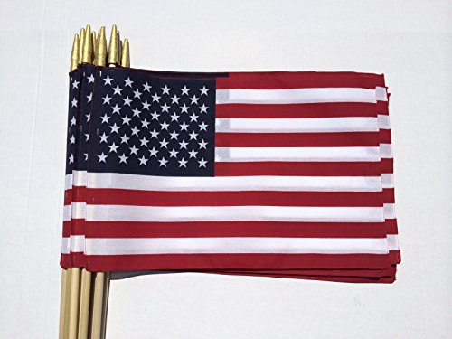 Lot of -12- 12x18 Inch US American Hand - Us Flags 12x18