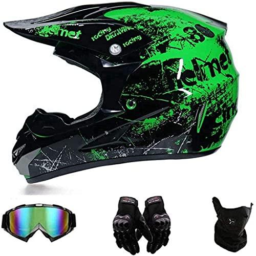 HHDL Motocross Helmet/Motorrad Crosshelm,Motorradhelm,Motocross Helm,Helm Kinder,Helmets Kinder-Cross-Helm,Handschuhe…