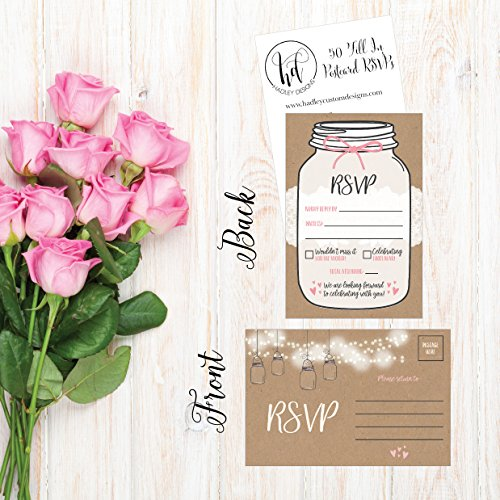 50 Rustic RSVP Cards, RSVP Postcards No Envelopes Needed, Response Card, Blank RSVP Reply, RSVP for Wedding, Rehearsal Dinner, Baby Shower, Bridal, Birthday, Engagement, Bachelorette Party Invitations Photo #3