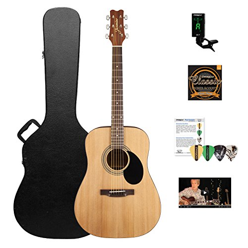 Jasmine S35 Acoustic Dreadnought Guitar, Natural with ChromaCast Hard Case and (Takamine Jasmine Acoustic)