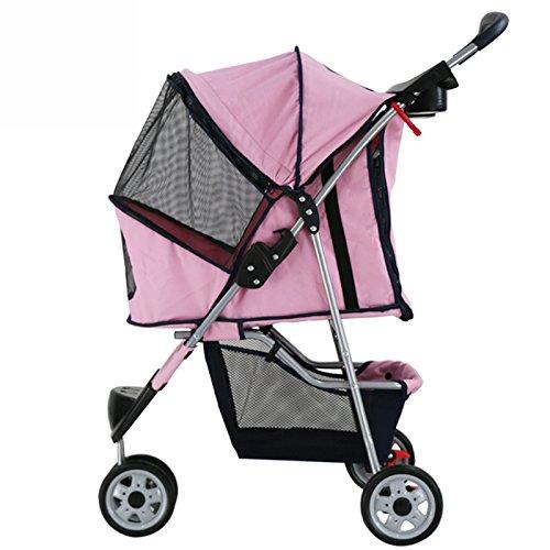 NAUY- Drei-Rad-Licht Mode Haustier Trolley Katze und Hund Cart Save faltbar waschbar Haustier Auto ( Farbe : Pink )