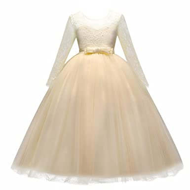 1a20e281cde Kids Flower Girls Lace Tulle Wedding Bridesmaid Communion Party Bowknot  Long Sleeve Dress Formal Pageant Carnival Birthday Prom Dance Ball Gown  Maxi Dress ...