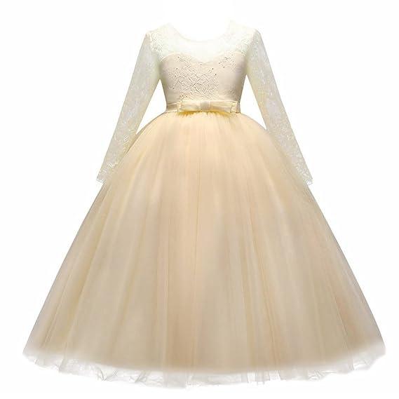 70dd38037bfa Kids Flower Girls Lace Tulle Wedding Bridesmaid Communion Party ...