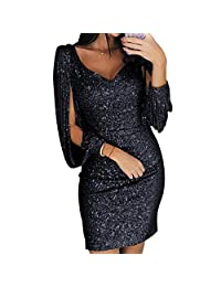 Evening Mini Dress,Sexy Tassels Sleeve V Neck Glitter Bodycon Party Club for Women