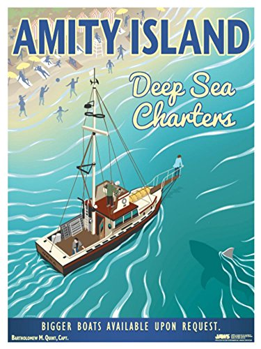 Jaws - Amity Island Deep Sea Charters Vintage Travel Lithograph Poster 18 x 24in