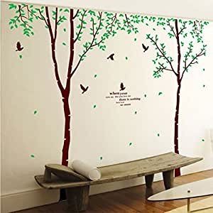 "Amaonm 106"" x 110"" Giant Huge Large Brown Birch Tree & Green Leaves Branches Black Birds Wall Decals Removable art Decor Wall Stickers Murals for Kids Girls Bedroom Living Room TV Sofa Background"