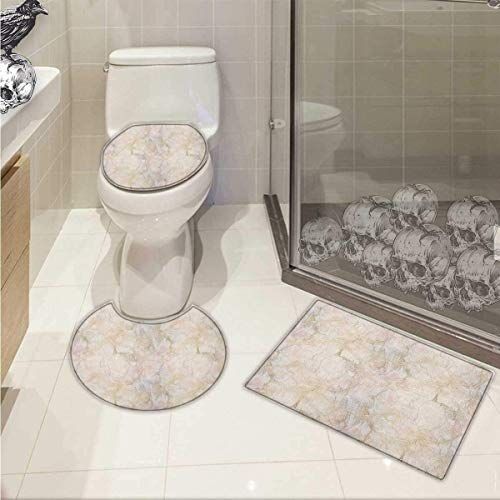 Lacencn Marble Toilet Carpet Floor mat Pink Peach Marble Background Crack Patterns Architecture Building Material 3 Piece Shower Mat Set Beige