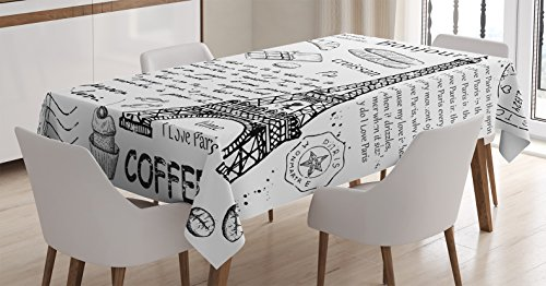 Ambesonne Paris Decor Tablecloth, Traditional Famous Parisian Elements Bonjour Croissan Coffee Eiffel Tower Illustration, Rectangular Table Cover for Dining Room Kitchen, 60x90 inch, Black White