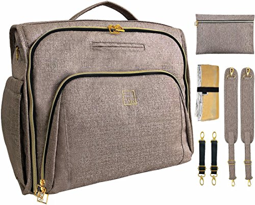 Diaper Bag Backpack and Messenger Bag ArtAK Multi-Function Travel Large Capacity Baby Nappy Bag w/Insulated Pockets Stroller Straps Changing Pad   Beige Gold