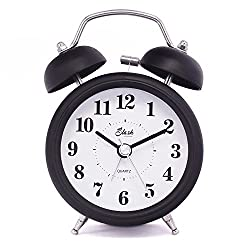 Slash 3 Vintage Retro Old Fashioned Quiet Non-ticking Sweep Second Hand, Quartz Analog Twin Bell Clock, Battery Operated, Loud Alarm, Nightlight Function (Black) S10121