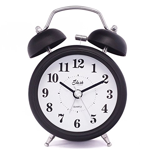 ro Old Fashioned Quiet Non-ticking Sweep Second Hand, Quartz Analog Twin Bell Clock, Battery Operated, Loud Alarm, Nightlight Function (Black) S10121 ()