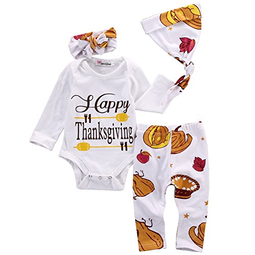 Babys Happy Thanksgiving Romper Long Sleeve Bodysuit With Pant And Hat 4pcs Outfits (0-6 Months) (Thing 1 Thing 2 Outfits)