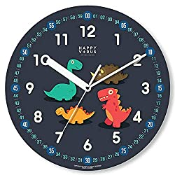 Happy Virus Kids Silent Educational Wall Clock, Dinosaurs, 11, Blue