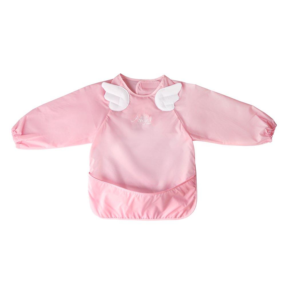 Angel DEPT Baby Toddler Long Sleeve Feeding Apron (L, Pink)
