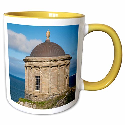 3dRose Danita Delimont - Northern Ireland - Mussenden Temple near Castlerock, County Londonderry, Northern Ireland - 11oz Two-Tone Yellow Mug - Castlerock Outlet