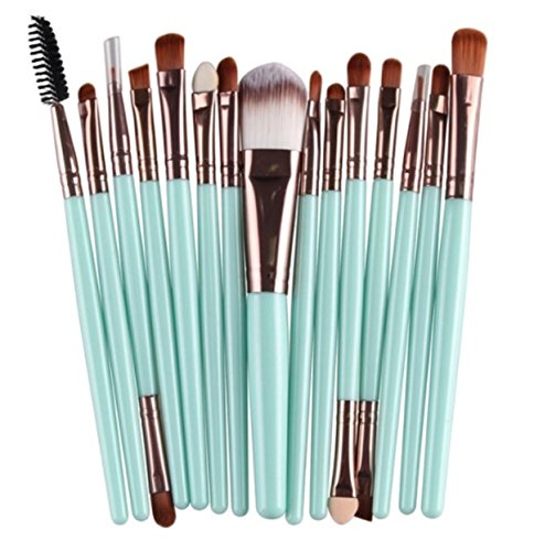 15 Pcs Makeup Brush Set Eyeshadow Eyebrow Eyelash Cosmetic Make Up Tool Foundation Natural Beauty Palettes Charming Popular Eyes Face Colorful Rainbow Hair Highlights Glitter Girls Travel Kit, ()