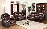 GTU Furniture Motion Sofa Loveseat Recliner Living Room Bonded Leather Set (Sofa, Loveseat and Chair, Brown)