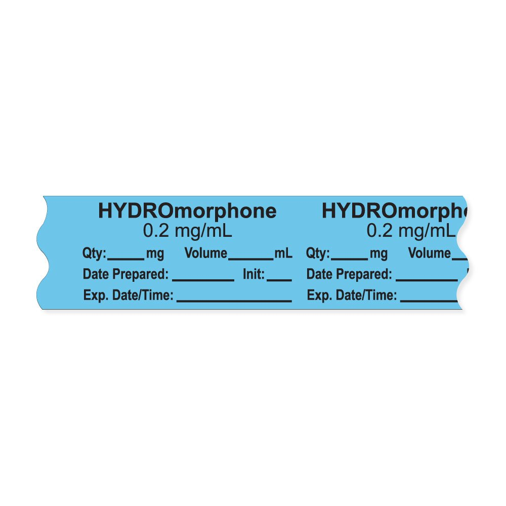 PDC Healthcare AN-2-16D02 Anesthesia Tape with Exp. Date, Time, and Initial, Removable, ''HYDROmorphone 0.2 mg/mL'', 1'' Core, 3/4'' x 500'',333 Imprints, 500 Inches per Roll, Blue (Pack of 500)