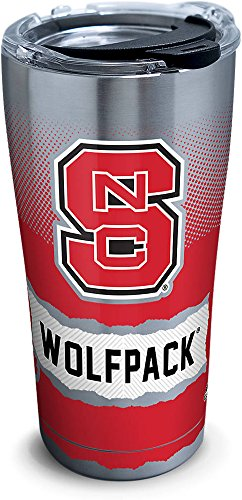 (Tervis 1267971 NC State Wolfpack Knockout Stainless Steel Tumbler with Clear and Black Hammer Lid 20oz, Silver)