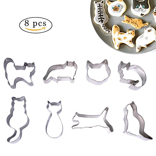 8 Pcs Cat Cookie Cutter Set, Cat Head, Sitting Cat, Running Cat and Curled Cat Shape Fondant Cakes Cutters - in Durable Stainless Steel