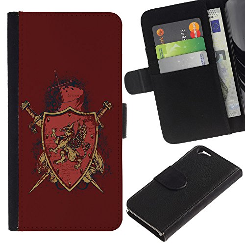 EuroCase - Apple Iphone 6 4.7 - The Majestic Gryphon Crest Shield Badge - Cuir PU Coverture Shell Armure Coque Coq Cas Etui Housse Case Cover