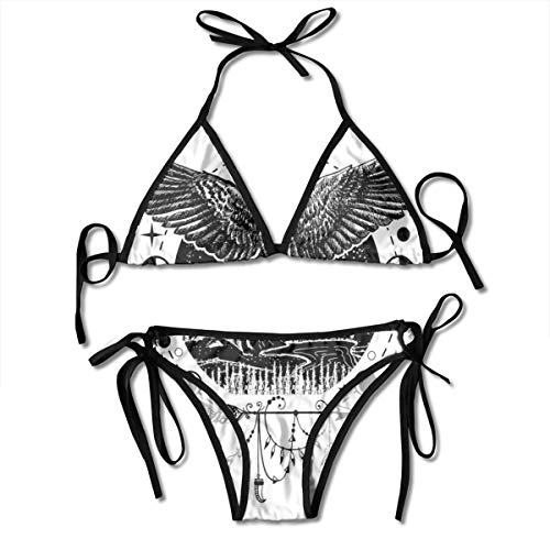 Women's Bikini Set,Sketch Tattoo Art Bird Spread Wings with Nature Moon Phases Boho Elements,Two Pieces Swimsuit