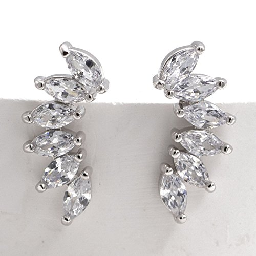 Orris Studios Crystal Ear Cuffs Stud Earrings Wing Silvery ()