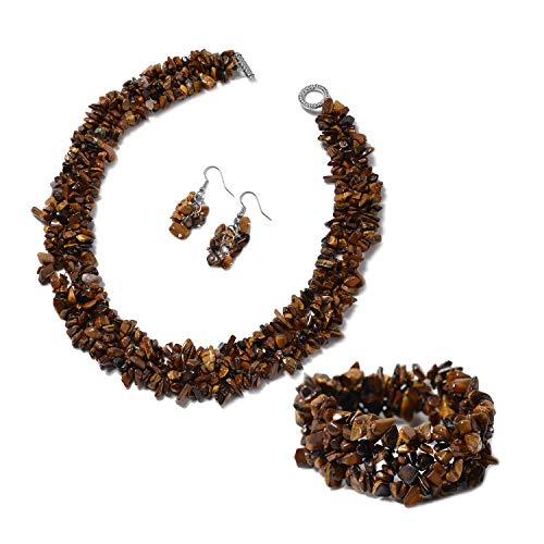(Shop LC Delivering Joy Yellow Tiger Eye Chips Bracelet Earrings Necklace Set Stainless Steel Jewelry for Women Size 6.5