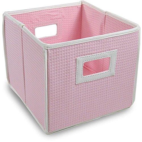 (Badger Basket Pink Waffle Folding Storage Cubes (Set of 3))