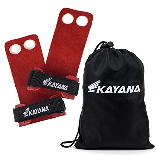 Leather Gymnastics Grips by KAYANA - Hand Grips, Palm Protection, and Wrist Support for Cross Training, Kettlebells, Pull ups, Weightlifting, Chin ups, Workout, & Exercise (Red, Large) (Red Leather Grip)
