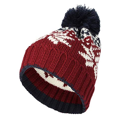 - WITHMOONS Knit Fairs Isle Nordic Bobble Pom Beanie Hat JZP0026 (Red)