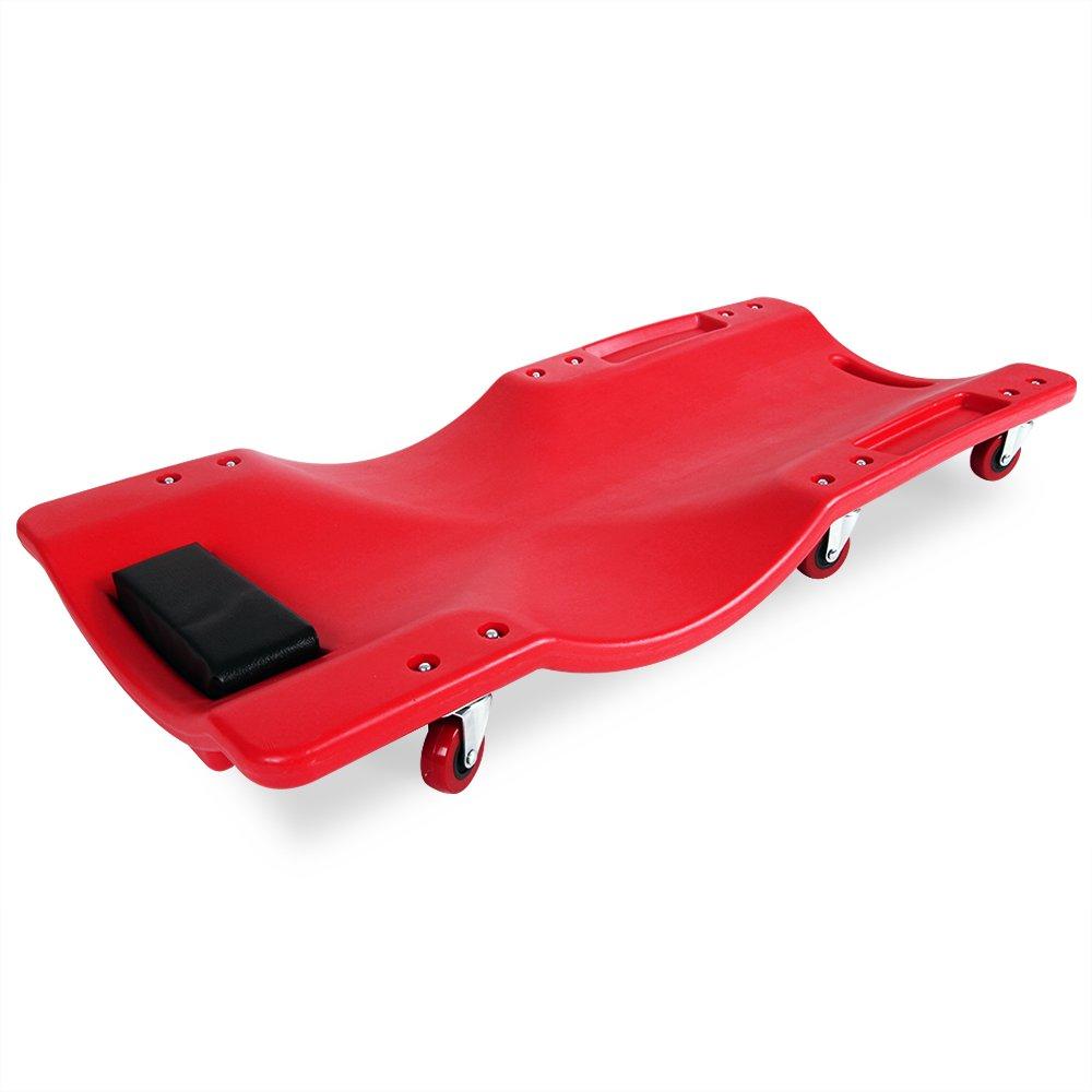 Deuba® - Camilla para taller | De polietileno de alta densidad | Soporte acolchado para la cabeza | 6 ruedas que giran 360º | forma ergonómica - Plataforma ...