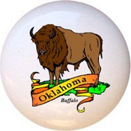 Buffalo Bison Oklahoma Design #99638 Decorative Glossy Ceramic Drawer Pull ()