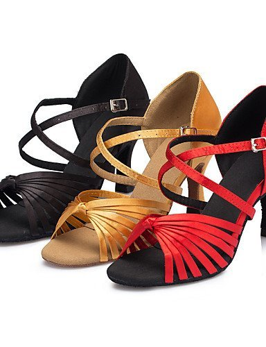 ShangYi Chaussures de danse ( Noir / Jaune / Rouge ) - Personnalisables - Talon Personnalisé - Satin - Latine / Salsa / Samba , yellow-us6 / eu36 / uk4 / cn36 , yellow-us6 / eu36 / uk4 / cn36