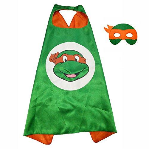 FASHION ALICE Superhero Superman CAPE & MASK SET,Halloween Costume Cloak for Child (Teenage Mutant Ninja Turtles,Orange)