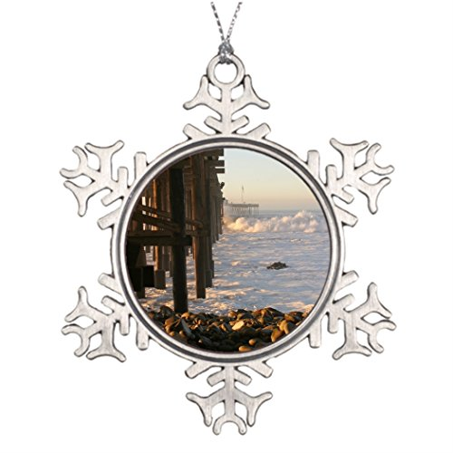 Tee popo Tree Branch Decoration Storm Ocean Wave Storm Pier Christmas Tree Snowflake -