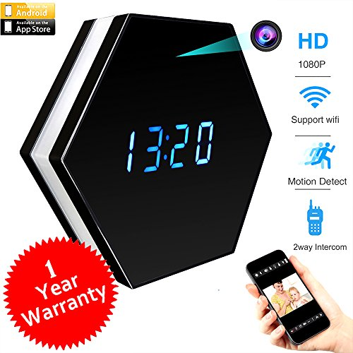 Digital Camera Spy Toy - CAMXSW Wifi Spy Camera Alarm Clock Hidden Camera 4500mAh HD 1080P With IR Night Vision Motion Detection Alarm Wall Clock Camera Mini Video Recorder Nanny Cam Black