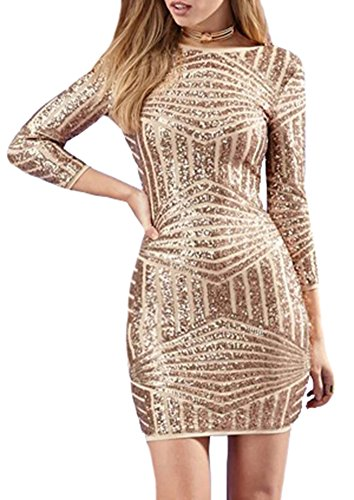 IDIFU Women's Asymmetric Stripes Sequins Backless Bodycon Pencil Dress