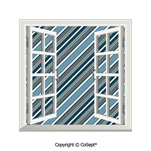 (SCOXIXI Window Wall Sticker,Navy Retro Style Diagonal Stripes Pattern Modern Design Home Decorations Image,3D Window View Decal Home Decor Deco Art (25.86x22.63 inch))