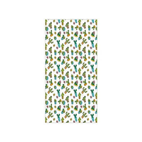 (Decorative Privacy Window Film/Cartoon Flower Pattern with in Pots and Vases Vintage Inspired Ornamental Design/No-Glue Self Static Cling for Home Bedroom Bathroom Kitchen Office Decor Multicolor)